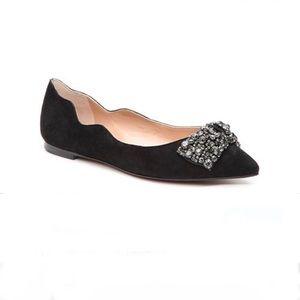 Audrey Brooke Lucia Black Jeweled Bow Flat - 6.5